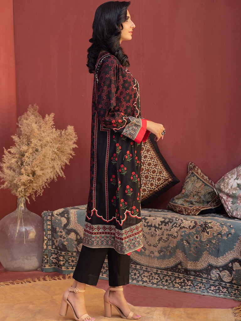 Unstitched 3pc Printed Lawn Shirt with Printed Lawn Dupatta & Dyed Cambric Trouser - Inaya (IP-00037A)