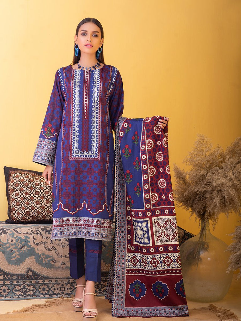 Unstitched 3pc Printed Lawn Shirt with Printed Lawn Dupatta & Dyed Cambric Trouser - Inaya (IP-00037B)