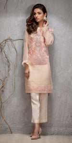 Stitched Organza Exclusive Shirt with Front &  Sleeves Embroidered. (PR-14)