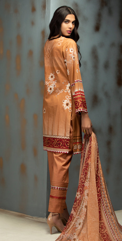 Printed Ribs Cambric Shirt with Embroidered Front  & Chiffon Dupatta | 3pc (RC-141A)