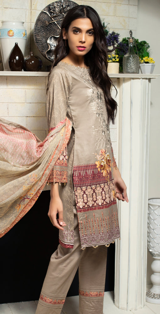 Printed Ribs Cambric Shirt with Embroidered Front  & Chiffon Dupatta | 3pc (RC-143B)