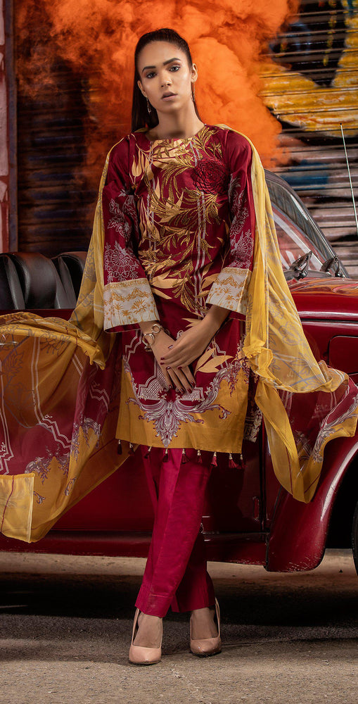 Embroidered Lawn Shirt with Chiffon Dupatta | 3pc (RC-145B)
