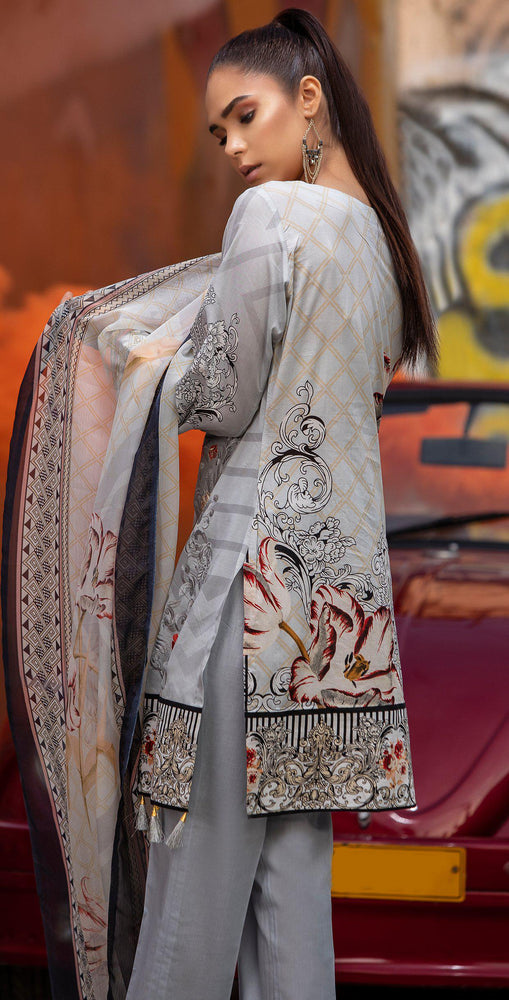 Embroidered Lawn Shirt with Chiffon Dupatta | 3pc (RC-147A)