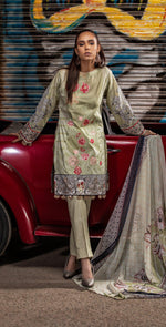 Embroidered Lawn Shirt with Chiffon Dupatta | 3pc (RC-147B)