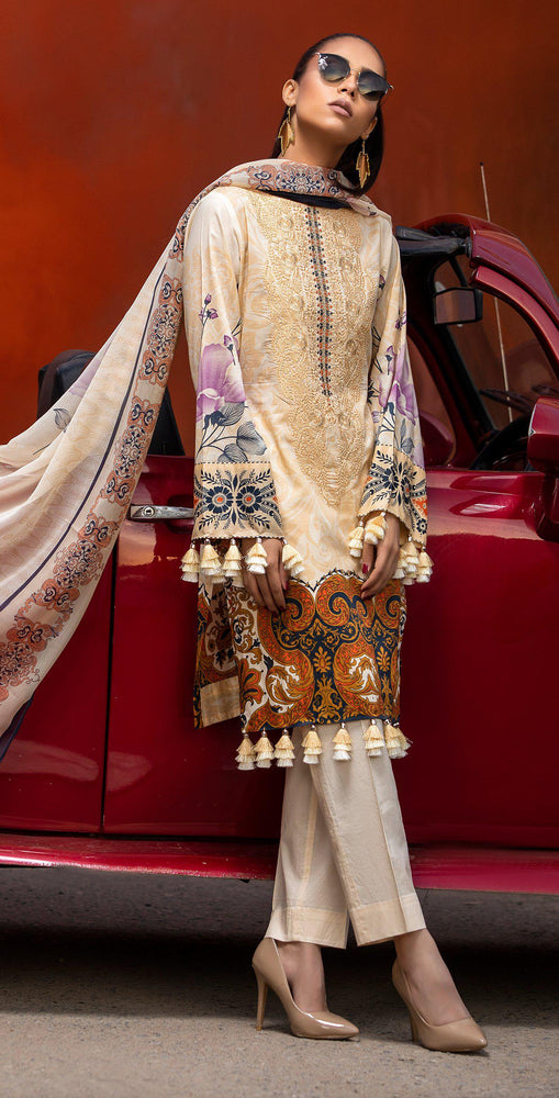 Embroidered Lawn Shirt with Chiffon Dupatta | 3pc (RC-148B)