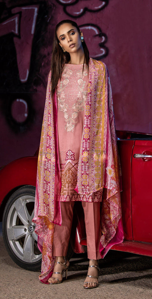 Embroidered Lawn Shirt with Chiffon Dupatta | 3pc (RC-149A)