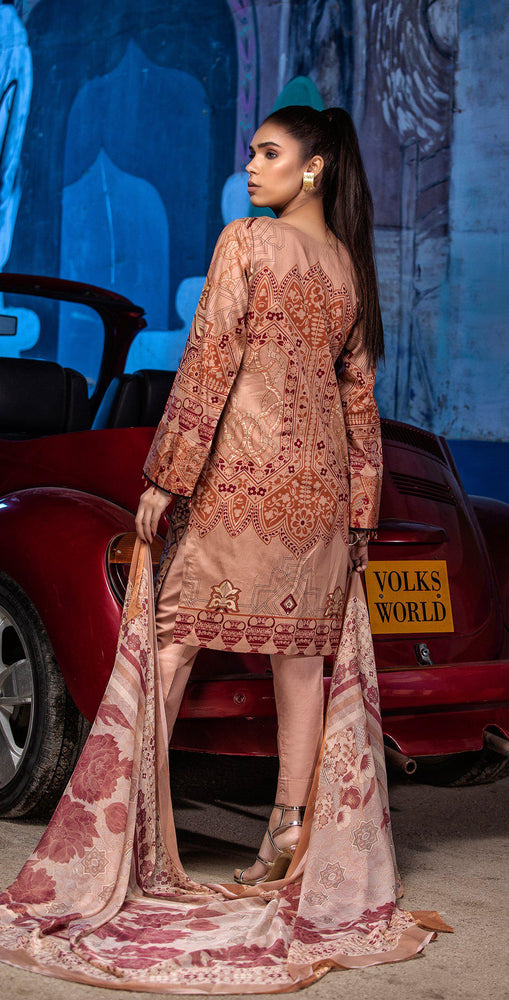 Embroidered Lawn Shirt with Chiffon Dupatta | 3pc (RC-149B)