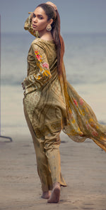 Embroidered Lawn Shirt with Chiffon Dupatta & Printed Trouser | 3pc (RC-150B )