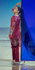 Embroidered Lawn Shirt with Chiffon Dupatta & Printed Trouser | 3pc (RC-151A )
