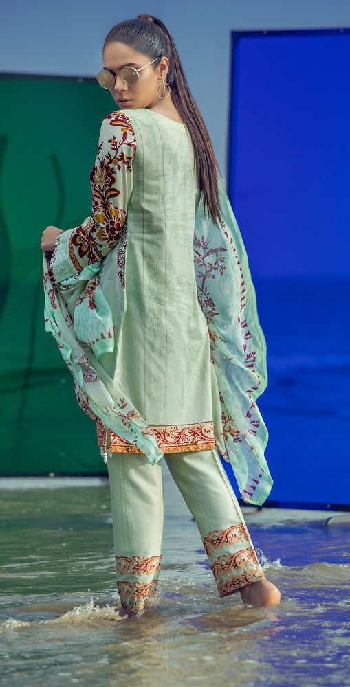 Embroidered Lawn Shirt with Chiffon Dupatta & Printed Trouser | 3pc (RC-152A )