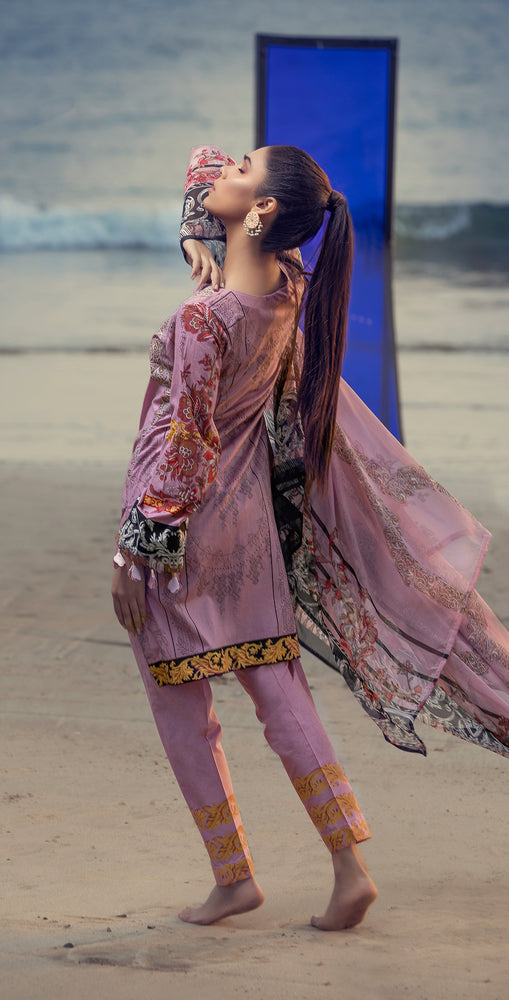 Embroidered Lawn Shirt with Chiffon Dupatta & Printed Trouser | 3pc (RC-152B )