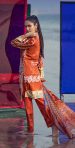 Embroidered Lawn Shirt with Chiffon Dupatta & Printed Trouser | 3pc (RC-153A )