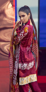 Embroidered Lawn Shirt with Chiffon Dupatta & Printed Trouser | 3pc (RC-153B )