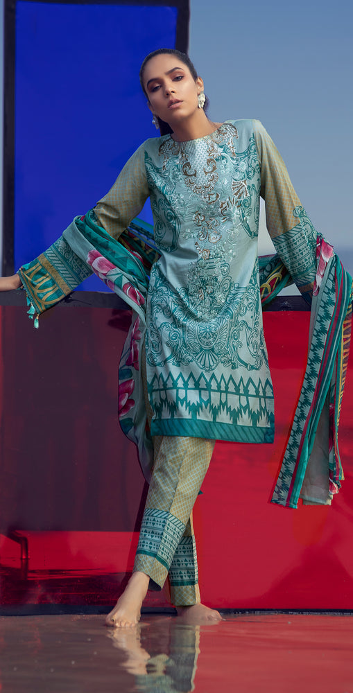 Embroidered Lawn Shirt with Chiffon Dupatta & Printed Trouser | 3pc (RC-154A )