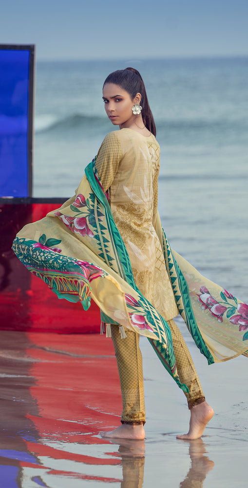 Embroidered Lawn Shirt with Chiffon Dupatta & Printed Trouser | 3pc (RC-154B )
