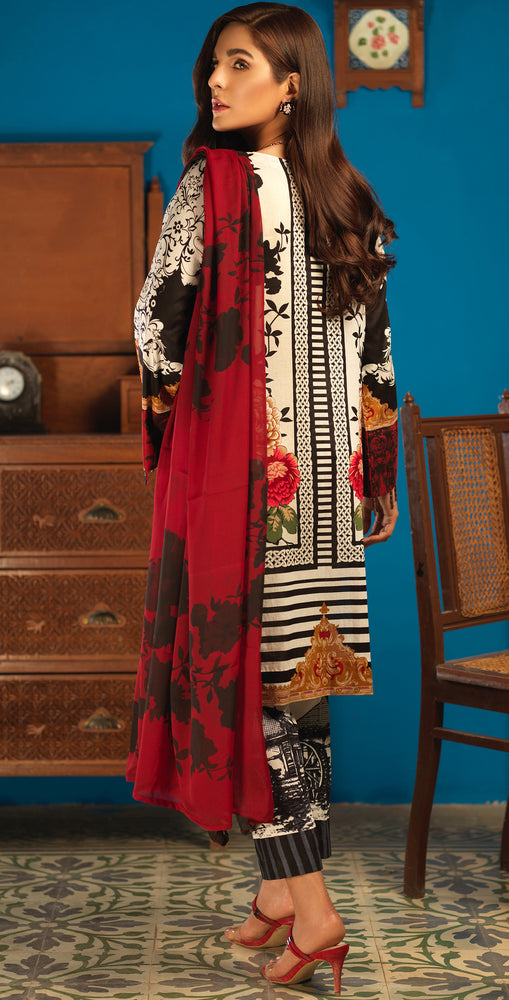 Silkoria Lawn Shirt with Embroidered Front , Chiffon Dupatta & Printed Trouser | 3pc (RC-156A)