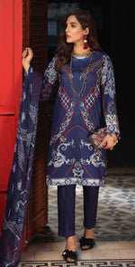 Stitched Silkoria Lawn Shirt with Embroidered Front , Chiffon Dupatta & Printed Trouser | 3pc Stitched (RC-158A)