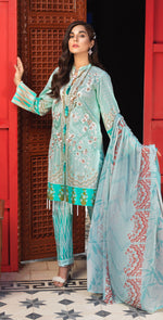 Stitched Silkoria Lawn Shirt with Embroidered Front , Chiffon Dupatta & Printed Trouser | 3pc Stitched (RC-159A)