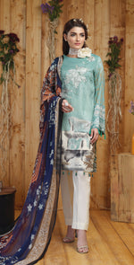 Silkoria Printed Lawn with Embroidered Shirt & Chiffon Dupatta | 3pc (RC-160A)