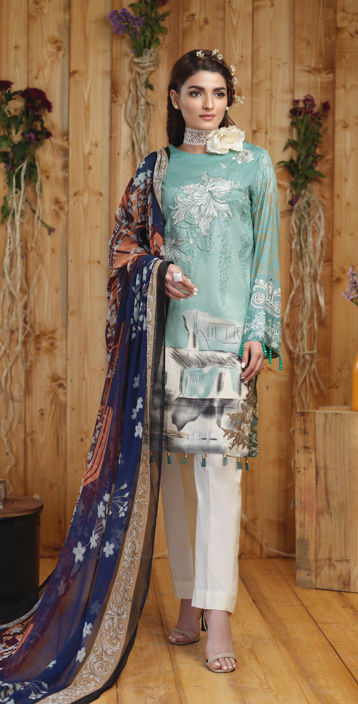 Stitched Silkoria Printed Lawn with Embroidered Shirt & Chiffon Dupatta I 3pc (RC-00160A)