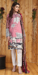 Silkoria Printed Lawn with Embroidered Shirt & Chiffon Dupatta | 3pc (RC-160B)