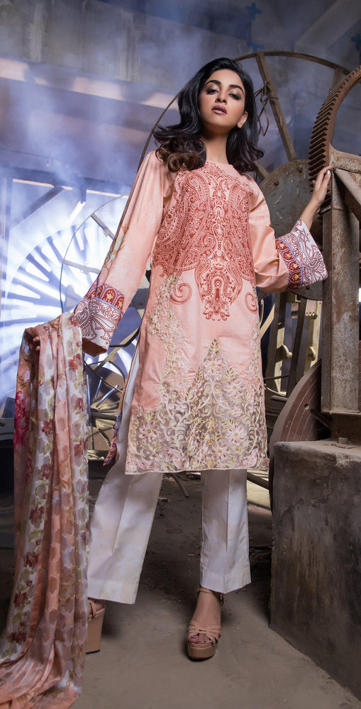 Printed Cambric Shirt with Tissue Bunch & HANDWORK with Broshia Jacquard Dupatta | 3pc (RC-135A)