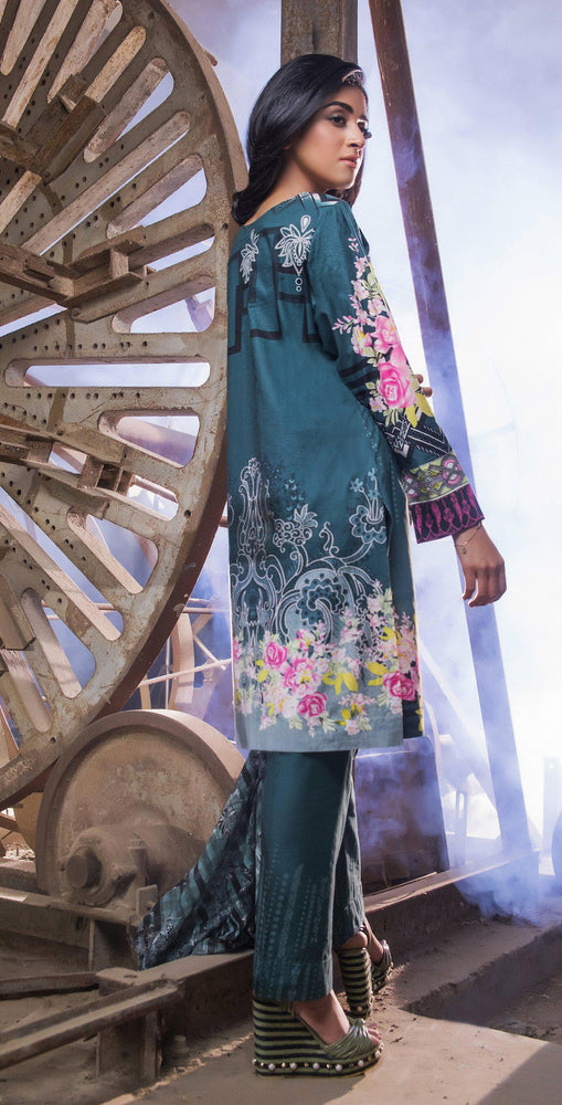 Printed Cambric Shirt with Front Embroidery & HANDWORK & Broshia Jacquard Dupatta | 3pc (RC-136A)