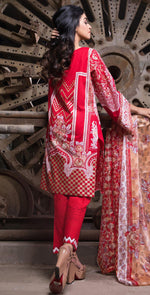 Printed Cambric Shirt with Tissue Bunches & HANDWORK | Broshia Jacquard Dupatta -  3pc | (RC-137A)