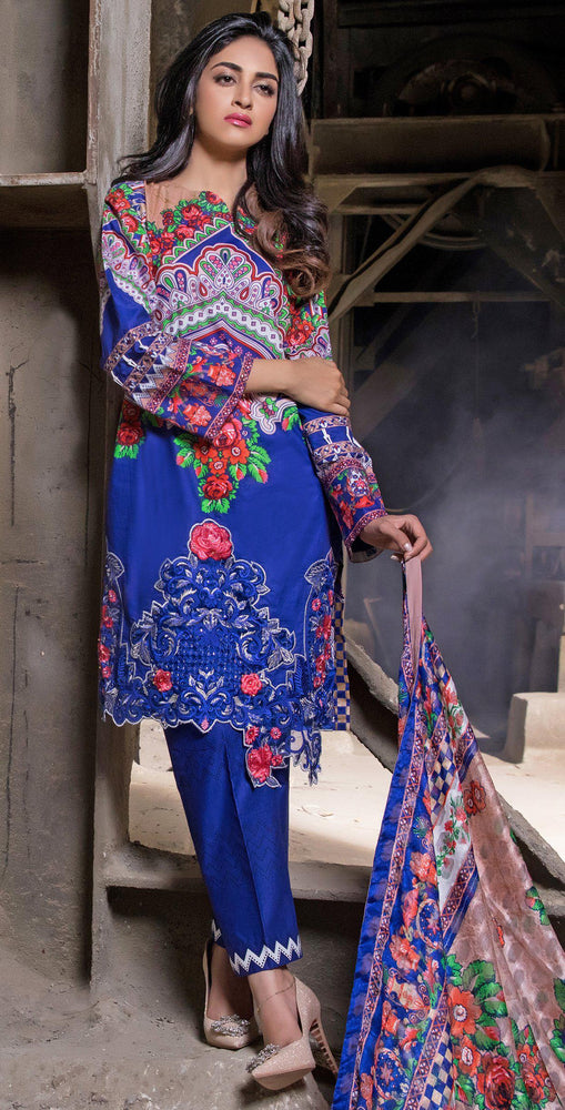 Printed Cambric Shirt with Tissue Bunches & HANDWORK & Broshia Jacquard Dupatta | 3pc (RC-137B)