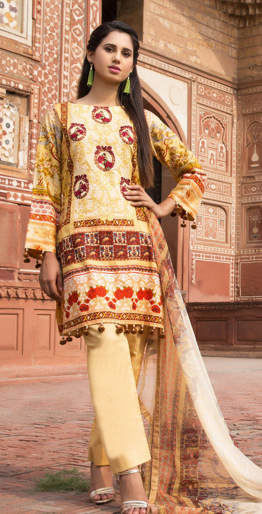 3pc Cambric |  Front Embroidered with Net Dupatta ( Des# RC-90A  )