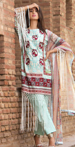 3pc Cambric |  Front Embroidered with Net Dupatta ( Des# RC-90B  )
