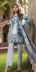 3pc Cambric |  Front Embroidered with Net Dupatta ( Des# RC-91B  )