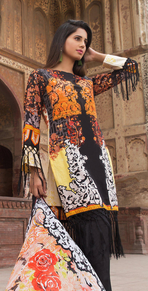 3pc Cambric |  Front Embroidered with Silk Dupatta ( Des# RC-92A  )