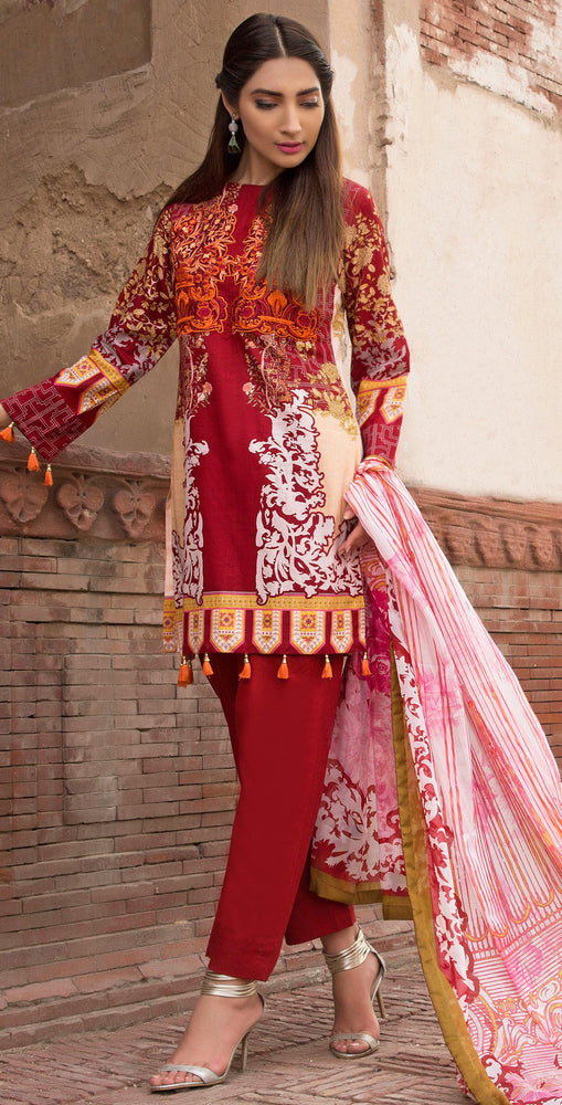 3pc Cambric |  Front Embroidered with Silk Dupatta ( Des# RC-92B  )