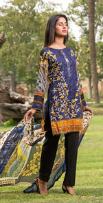 3pc Cambric |  Front Embroidered with Silk Dupatta ( Des# RC-94a  )