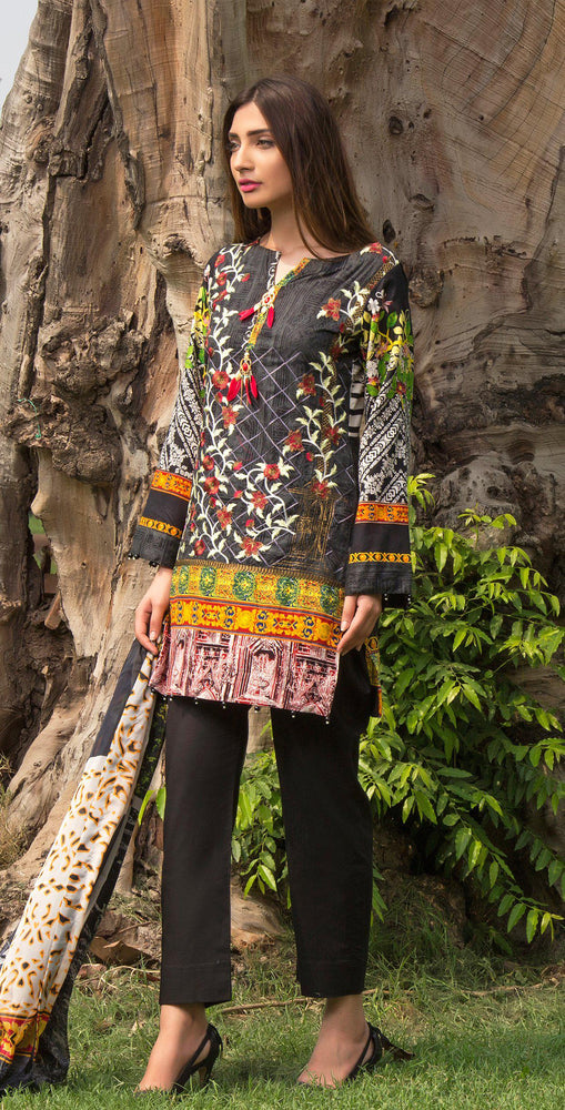 3pc Cambric |  Front Embroidered with Silk Dupatta ( Des# RC-94b  )
