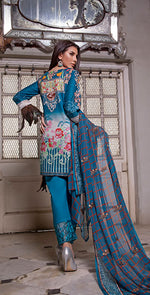 3pc Lawn With Embroidered Front , Dupatta & Trouser Bunches | ( Des#  WK-146 B )