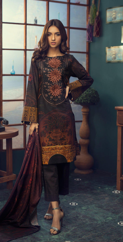 3pc Digital Khaddar Shirt with Embroidered Front & Shawl Dupatta (WK-205)