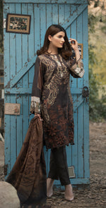 3pc Digital Linen Shirt with Embroidered Front & Shawl Dupatta (WK-209)