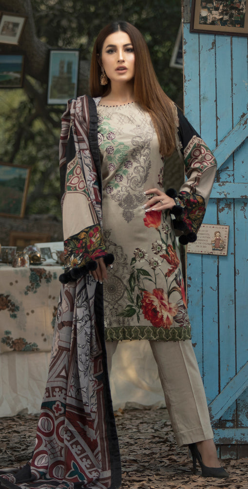 3pc Digital Linen Shirt with Embroidered Front & Shawl Dupatta (WK-210)