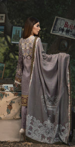 3pc Digital Linen Shirt with Embroidered Front & Shawl Dupatta (WK-212)