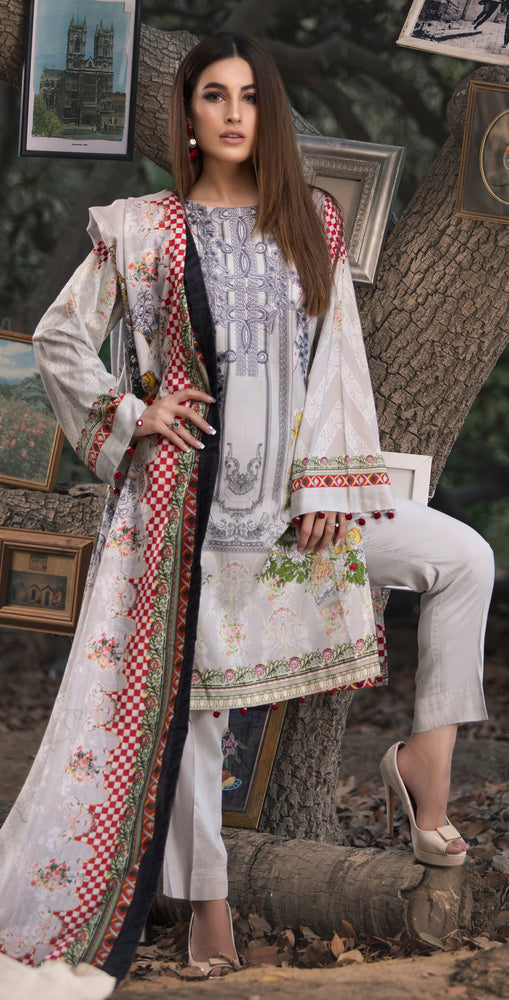 3pc Digital Linen Shirt with Embroidered Front & Shawl Dupatta (WK-214)