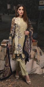 3pc Digital Linen Shirt with Embroidered Front & Shawl Dupatta (WK-216)