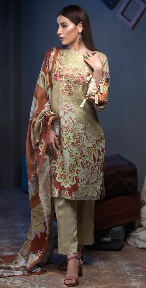 3pc Digital Linen Shirt with Embroidered Front & Shawl Dupatta (WK-218)