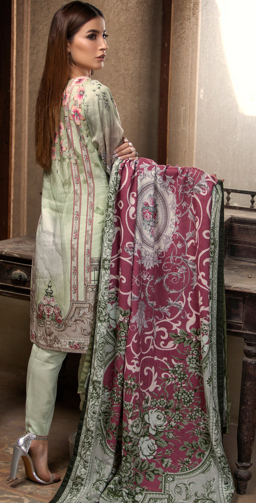 3pc Digital Linen Shirt with Embroidered Front & Shawl Dupatta (WK-221)