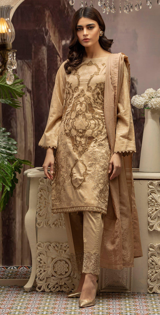 Embroidered Jacquard Shirt with Handwork & Trouser with Bunch I 3pc (WK-231)