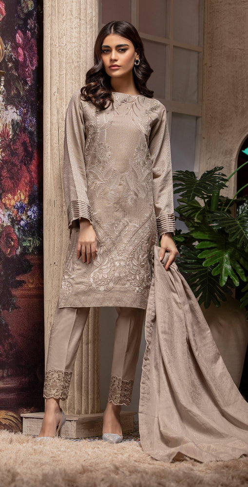 Embroidered Jacquard Shirt with Handwork & Trouser with Bunch | 3pc (WK-235)