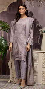 Embroidered Jacquard Shirt with Handwork & Trouser with Bunch | 3pc (WK-237)
