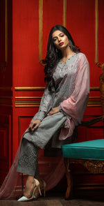 Embroidered Luxury Swiss Voile Shirt with Chiffon Dupatta & Embroidered Trouser Bunches | 3pc (WK-238)
