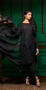 Embroidered Luxury Swiss Voile Shirt with Chiffon Dupatta & Embroidered Trouser Bunches | 3pc (WK-239)